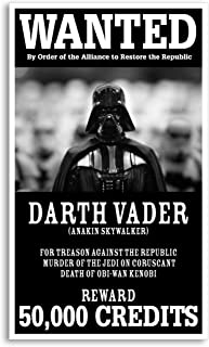 "Per Diem Printing Star Wars - Wanted for Treason - Darth Vader 13""x22"" Vintage Style Showprint Poster - Concert Bill - Home Nostalgia Decor Wall Art Print"