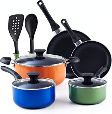 Cook N Home Stay Cool Handle, Multicolor 10-Piece Nonstick Cookware Set