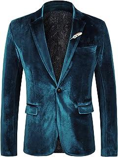 WEEN CHARM Men's Velvet Suit Jacket One Button Slim Fit Velvet Blazer