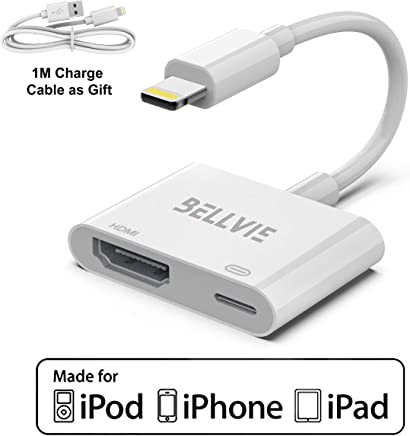 $23 Get Bellvie Compatible with iPhone to HDMI Adapter,Plug and Play 1080P Digital Audio Converter