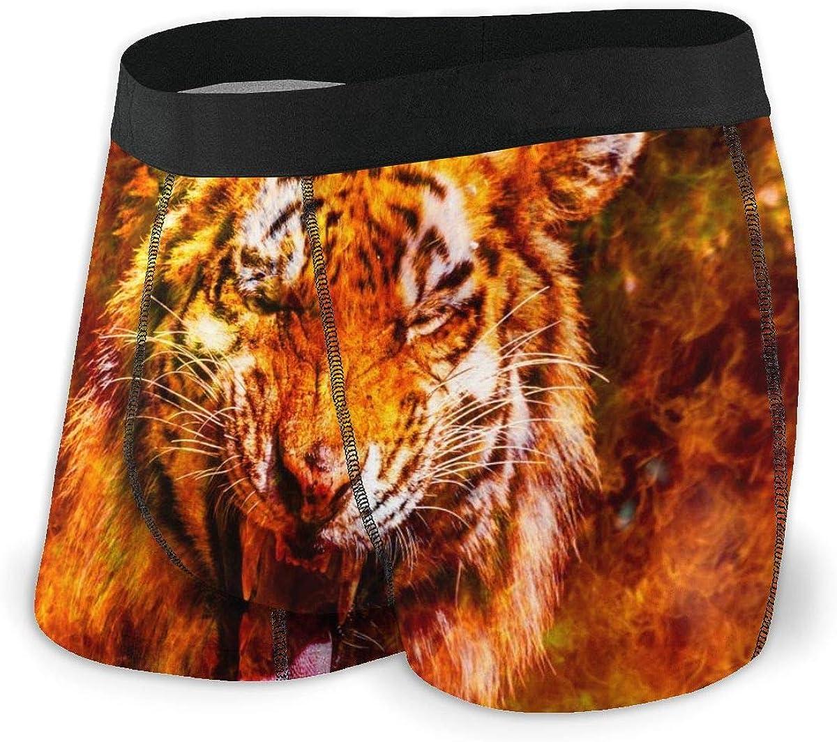 Mens Boxer Briefs Wonderful Tiger in Fire Breathable Underwear