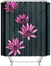 Gnzoe Bathroom Shower Curtain in Polyester Fabric, Dry Fast Water Lily Pattern Black 90x180CM