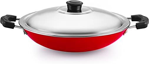 Nirlon Non-Stick Aluminium Appachatti with Stainless Steel lid, Red