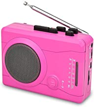 DIGITNOW Cassette Player,Personal Walkman Tape and Voice Recorder for Convert Cassette Tape to MP3 Via USB& Digital Audio Music to Tapes with Wireless AM/FM Radio,MIC in and Earphone(Pink)