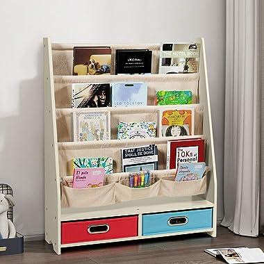 Costzon Bookshelf for Kids, 2 in 1 Children Display Bookcase Classroom Storage Organizer w/ 4 Shelves, 2 Toys Storage Boxes &