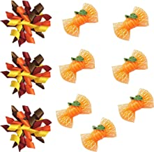 yagopet 20pcs in Pairs Dog Hair Bows for Thanksgiving Halloween Pumpkin Dog Curves Bows Dog Autumn Bows with Rubber Bands Dog Topknot Bows Supplies Pet Hair Accessories
