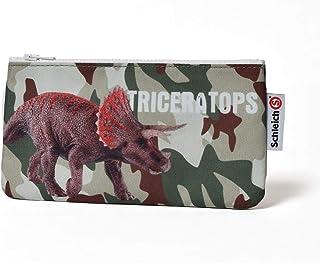 Schleich(シュライヒ) ペンケース 筆入れ フラット 迷彩柄 恐竜 トリケラトプス