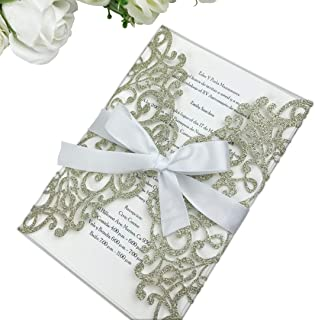PONATIA 25PCS 5.12 x 7.1 '' Laser Cut Wedding Invitations Cards with Envelopes for Wedding Bridal Shower Engagement Birthday Invite (Champagne Gold Glitter)