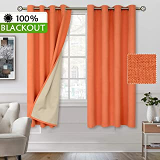 BGment 100% Blackout Curtains with Liner for Bedroom, Grommets Thermal Insulated Textured Linen Lined Curtains for Living Room (52 x 63 Inches, 2 Panels, Living Coral)