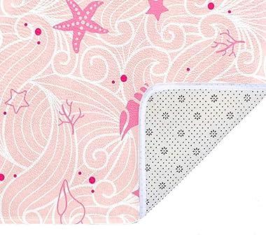 EGGDIOQ Doormats Shellfish Summer Beach Pattern Custom Print Bathroom Mat Waterproof Fabric Kitchen Entrance Rug, 23.6 x 15.7