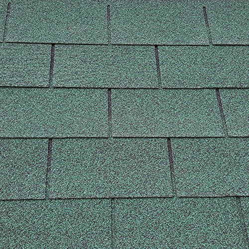 Green Square Butt 4 Tab Roofing Felt Shingles Shed Roof Tiles with Free Nails & Felt Lap Adhesive