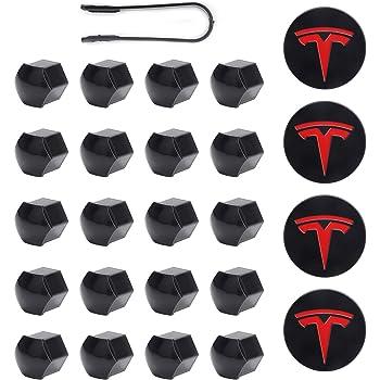 Silver grey Aero Wheel Cap kit for Tesla Model 3 Tesla Model 3 Chrome Lug Nut Cover Caps with Puller Center Hub Cap with Logo fit for Tesla Model 3 Wheel 50pcs