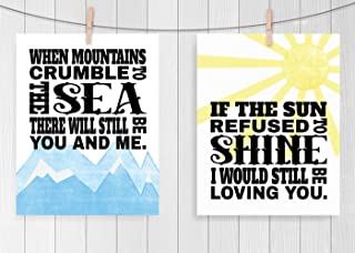 Led Zeppelin Thank You Print Set, Fine Art Lyric Poster Set of Two, Sizes 8x10-16x20 **Unframed**