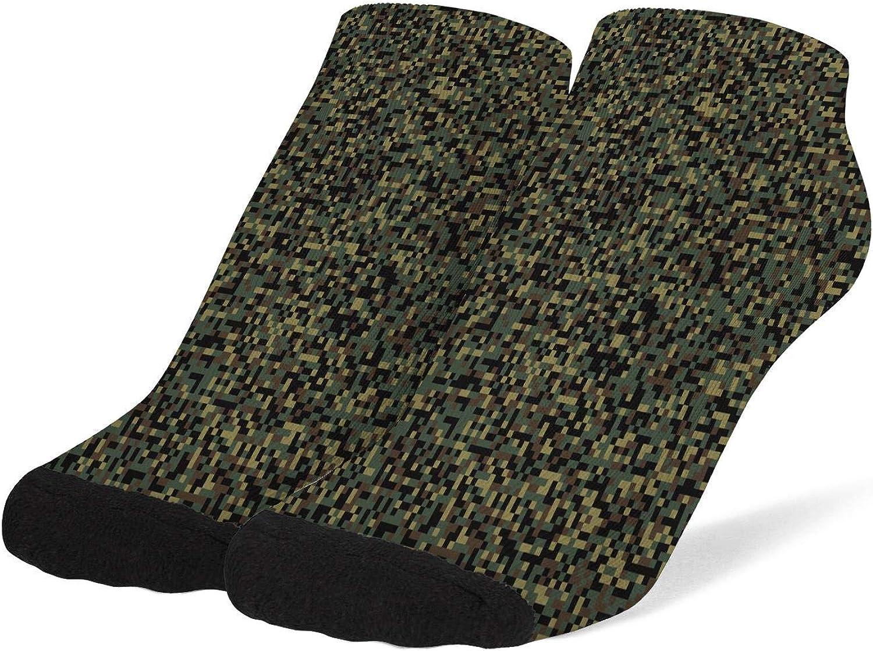 Women's Camouflage Pixelated Green Light Socks Cotton No Show Low Cut Sock Ankle Sock
