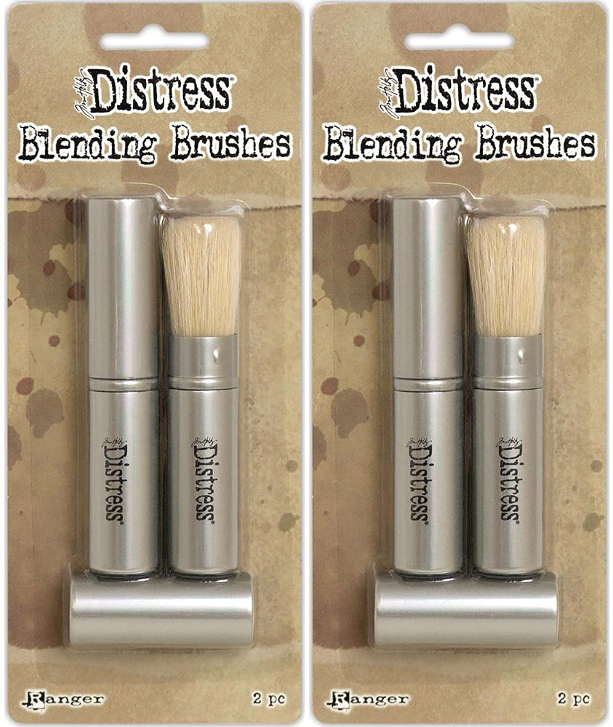 Tim Holtz Distress Blending Brushes - Two Packages - 4 Brush Bundle (Original Version)