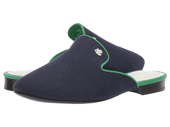 LAUREN Ralph Lauren Cadee (Dark Midnight/Spring Emerald Canvas/Burn Calf) Women's Shoes