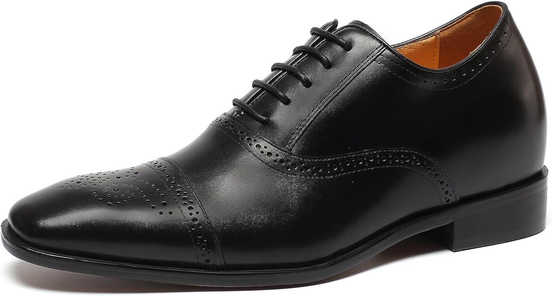CHAMARIPA Height Increasing Elevator shoes 2.76'' Taller Men Wingtip Oxford Dress shoes K6531-1
