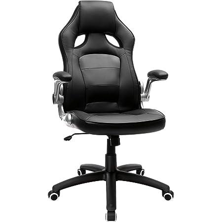 Hjh Office 621710 Chefsessel Game Sport Kunstleder Grau Schwarz Gaming Stuhl Bürostuhl Armlehnen Klappbar Küche Haushalt
