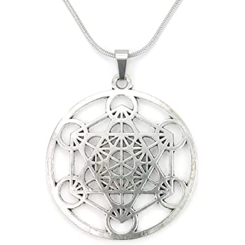 Merkabah on Flower of Life Necklace Sacred Geometry Merkaba Pendant Merkavah on Stainless Snake Chain