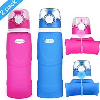 Farielyn-X Collapsible Water Bottle 26oz / 750ml Medical Grade Silicone, BPA Free, Leak Proof with Roll Up Foldable Features for Sports, Outdoor & Indoor Water Bottle