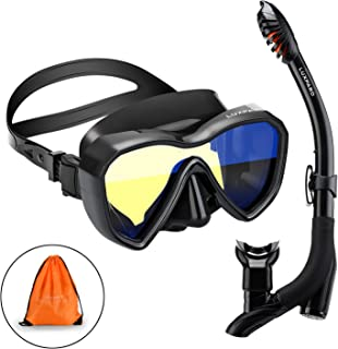 LUXPARD Snorkel Set, Anti-Fog Panoramic View Snorkel Mask and Anti-Leak Dry Snorkel Tube, Snorkeling Gear for Adults, Snorkel Kit Bag Included