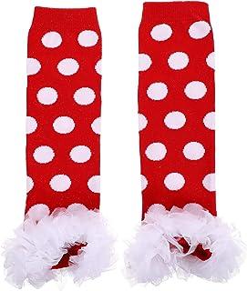 Toddmomy, Toddmomy Navidad Bebé Calentador de Piernas Vacaciones Niño Rayado Punto Calcetines de Algodón Cálido Acogedor Suave Cubierta de Calcetín Elf Disfraz Accesorios Rojo