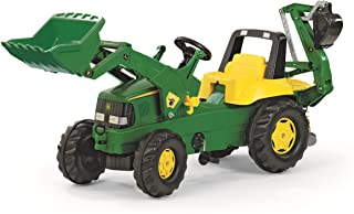 Rolly Toys Traktor / rollyJunior Trettraktor John Deere mit Lader und Heckbagger, für Kinder ab 3 Jahren, Flüsterlaufreifen 811076