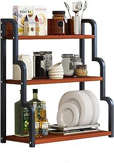 JIAGU Étagère de Rangement pour la Cuisine Porte-Four à Micro-Ondes, Tablette de Conserve de Cuisine à 3 Niveaux, Espace d...