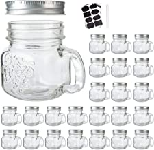 8 oz Glass Mason Mugs with Silver Lids,Mason Jar Glasses withAirtight Lids For Beverages,Canning Jars with Handle For Kitc...
