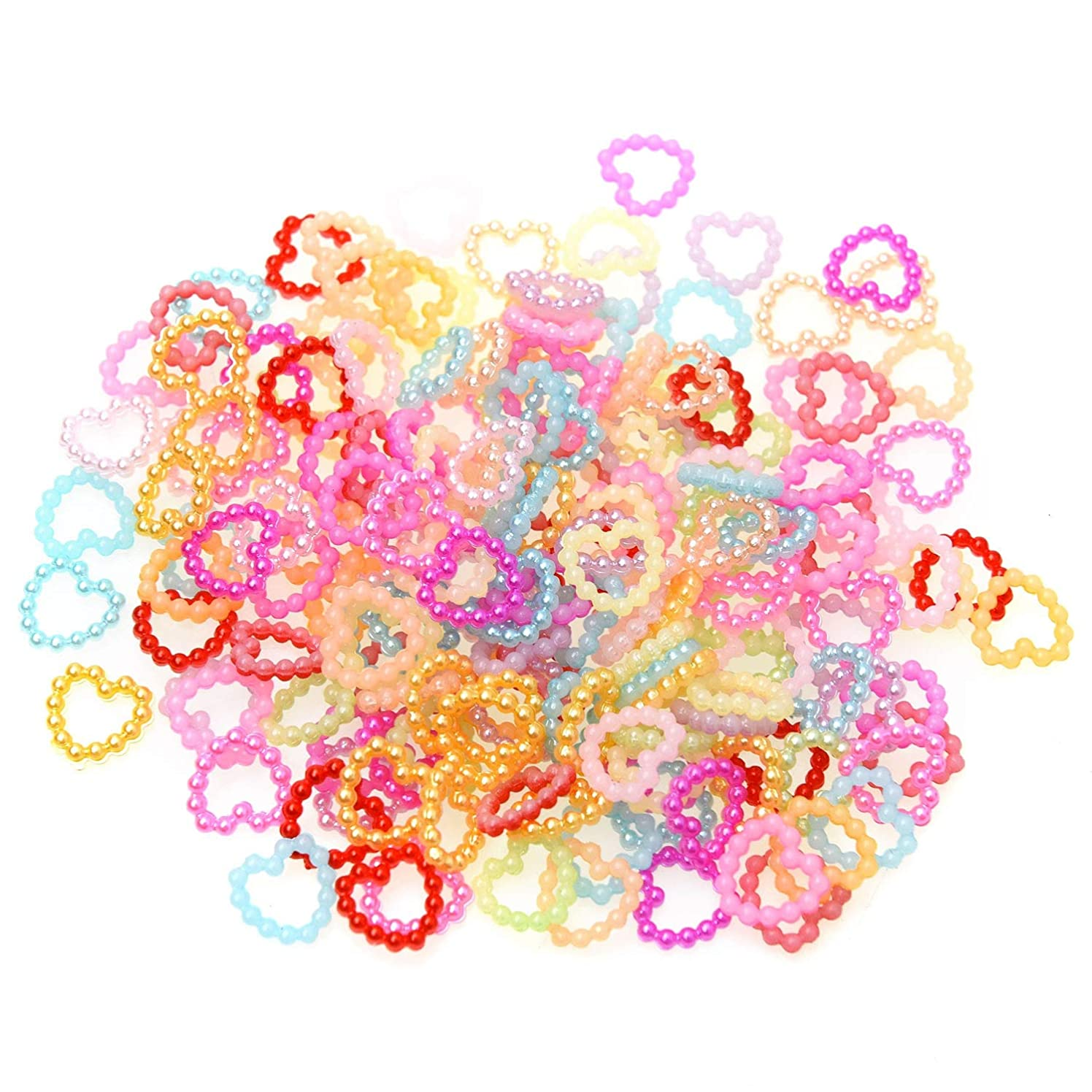 Monrocco 200 Pcs Mixed Color Heart Pearl Resin Flatback Embellishment Cabochon Beads for DIY Crafts
