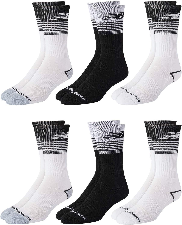 New Balance Men's Moisture Wicking Cushioned Crew Socks (6 Pack)