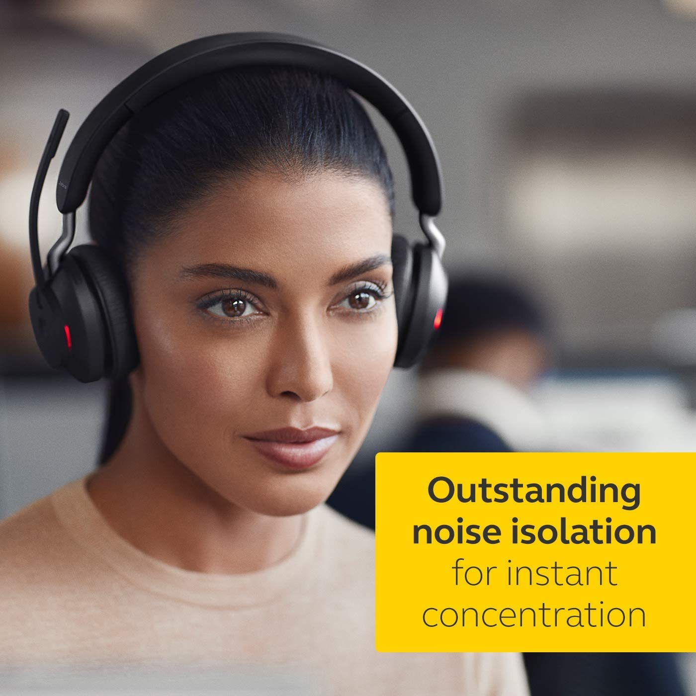 Jabra Evolve2 65 Wireless Headset – Noise Cancelling UC Certified Stereo Headphones With Long-Lasting Battery – USB-A Bluetooth Adapter – Black