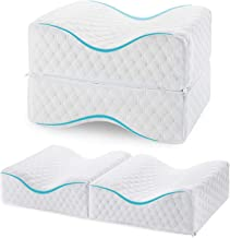 BeebeeRun Leg Pillow Premium Cooling Gel Knee Cushion Orthopedic Memory Foam Knee Pillow with Elastic Strap for Pregnancy Side Sleeping Hip Back Spine Nerve Pressure Relief White