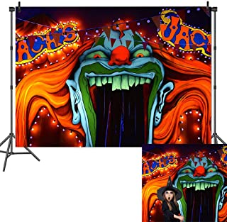 Qian Horror Circus Carnival Theme Photography Background Scary Giant Entrance Evil Vampire Decor Photo Background Halloween Party Decoration Cake Table Banner Studio Props 7x5ft Vinyl