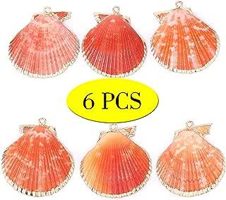 Wholesale 6 PCS Large Scallop Shells Pendant Orange Clam Seashells Charms Bulk for Jewelry Making