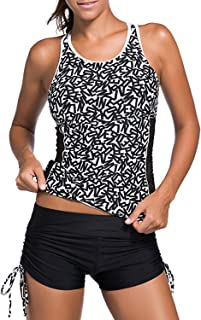 Women Racerback Mesh Tankini Top with Boyshort Strappy 2 Piece Swimsuit