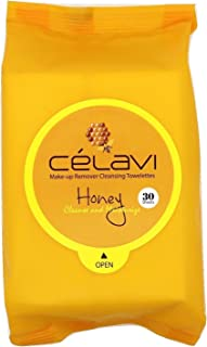 Celavi Makeup Remover Cleansing Wipes Removing Towelettes 2 Packs - 60 Sheets (Honey)