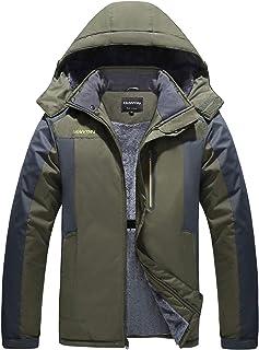 HOW'ON Men's Snow Jacket Windproof Waterproof Ski Jackets Winter Hooded Mountain Fleece Outwear