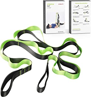 koolife Stretch Strap,Yoga Strap for Stretching to Increase Flexibility for Gym,Pilates and Physical Therapy with Carry Bag,12 Loops,1.5 W x 8' L