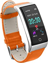Anyasun Color Screen Fitness Tracker, ECG PPG Heart Rate Blood Pressure Smart Watch with Leather Watchband, Step Counter,Calories,Sleep Monitor,Alarm Clock,Call SMS Notice for Men Women Teens