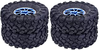 HONG YI-HAT 1.9 Inch 4PCS 96MM Rubber Tires &amp Aluminum Alloy Wheel Rims for 1:10 RC Rock Crawler Axial SCX10 90046 Trax...