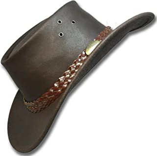Oztrala~ Oiled Leather Hat Australian Jacaru Outback Aussie Western Cowboy Mens Womens Black Brown WO 1006 A