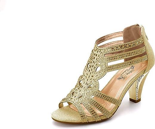 حذاء نسائي من Ashley A Collection من Lexie Crystal بكعب منخفض للزفاف KIMI25 ذهبي 6. 5
