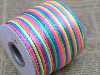BJM Collection 2mm X 100 Yard Rattail Satin Nylon Trim Cord Chinese Knot (Rainbow)