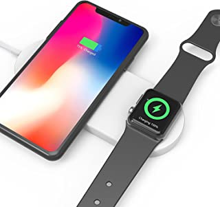 Mini AirPower Wireless Charger, 2 in 1 Fast Dual Charging Pad Compatible with Apple Watch/iPhone, iWatch Series 3/2, iPhone X, iPhone 8 Plus, iPhone 8, Galaxy Samsung Note 8, S8 Plus, S8, S7