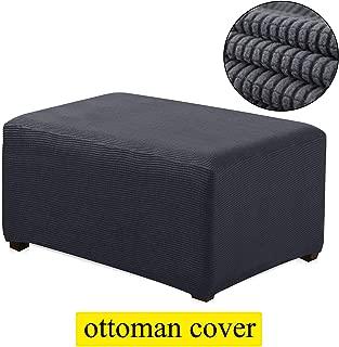 TIENCIY Oversized Ottoman Slipcover Sofa Spandex Jacquard Stretch Storage Ottoman Slipcover Protector Covers(Oversize, Grey)