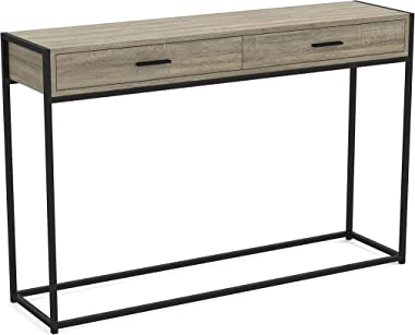 Safdie & Co. Entryway Console Sofa Couch Table/Accent Wall Table-48 Long/Dark Taupe with Drawers for Living Room