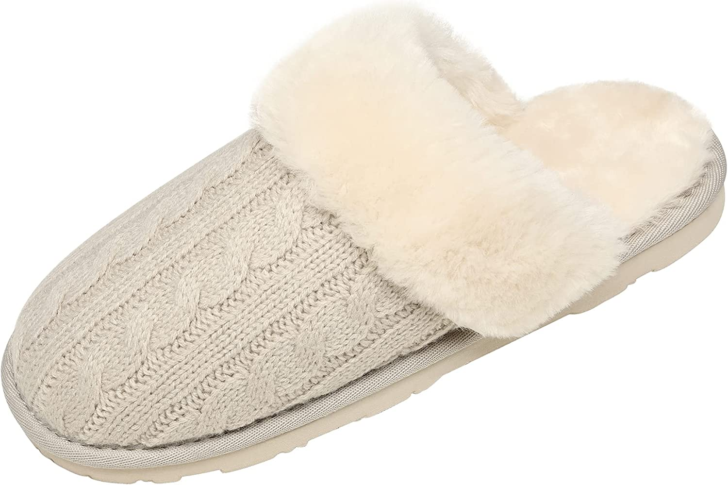 Free shipping on posting reviews DREAM PAIRS Women's Ranking integrated 1st place Cable Knit Fur Faux Mules Slippers Comfy