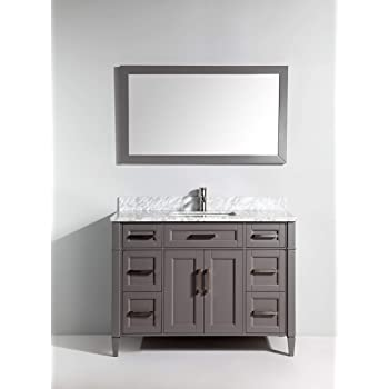 Vanity Art Bathroom Vanity Set Carrara Marble Stone Top Soft Closing Doors Undermount Rectangle Sink Cabinet with Free Mirror (60 Inches (Double Sink), Gray)