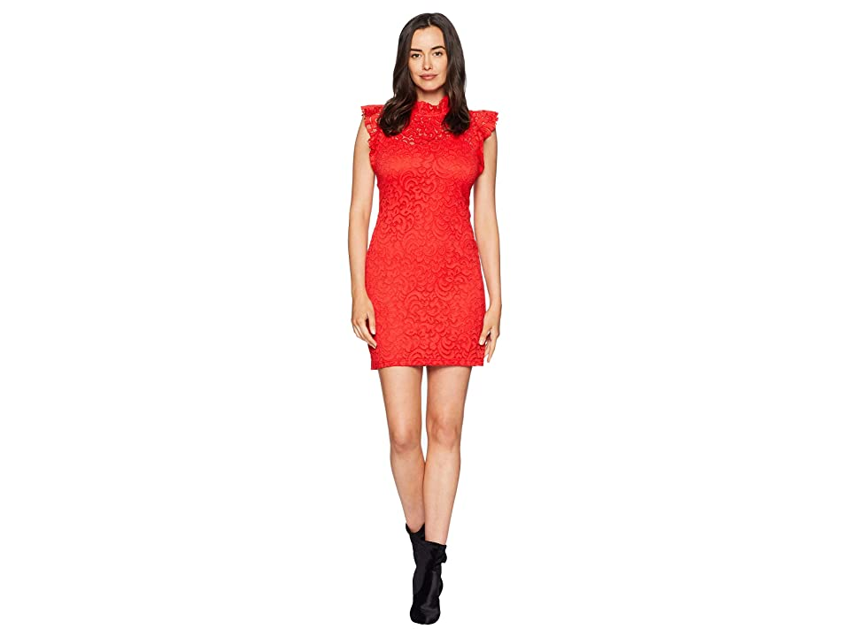 Image of ALEXIA ADMOR Cap Sleeve Lace Sheath (Fiery Red) Women's Dress